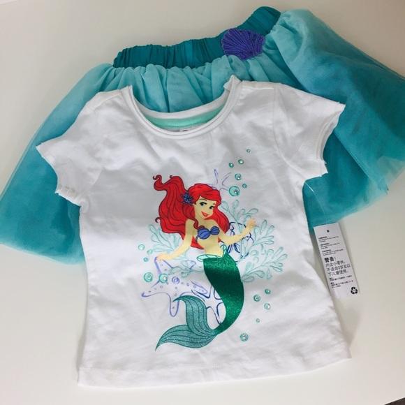 """Disney ARIEL """"Little Mermaid"""" Green Top 3T 4T 5T ~ NWT"""